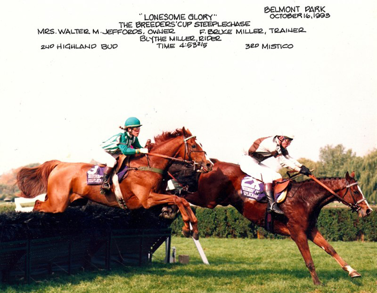 Lonesome Glory, Blythe Miller up, winning the 1993 Breeders' Cup Steeplechase (Courtesy of Bruce Miller)