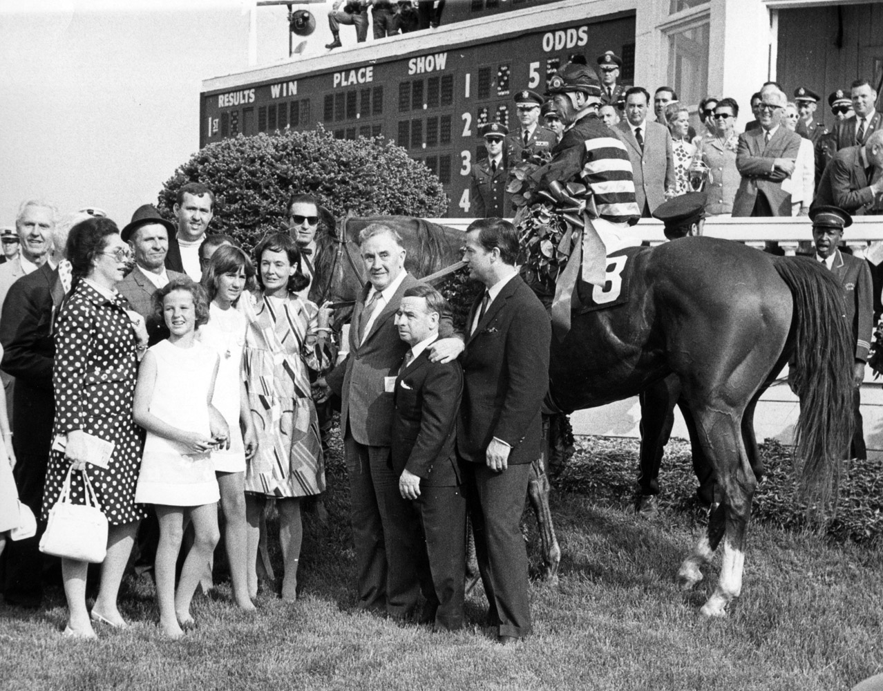 Majestic Prince and his connections (including his trainer, Hall of Fame jockey Johnny Longden) in the winner's circle for the 1969 Kentucky Derby (Museum Collection)