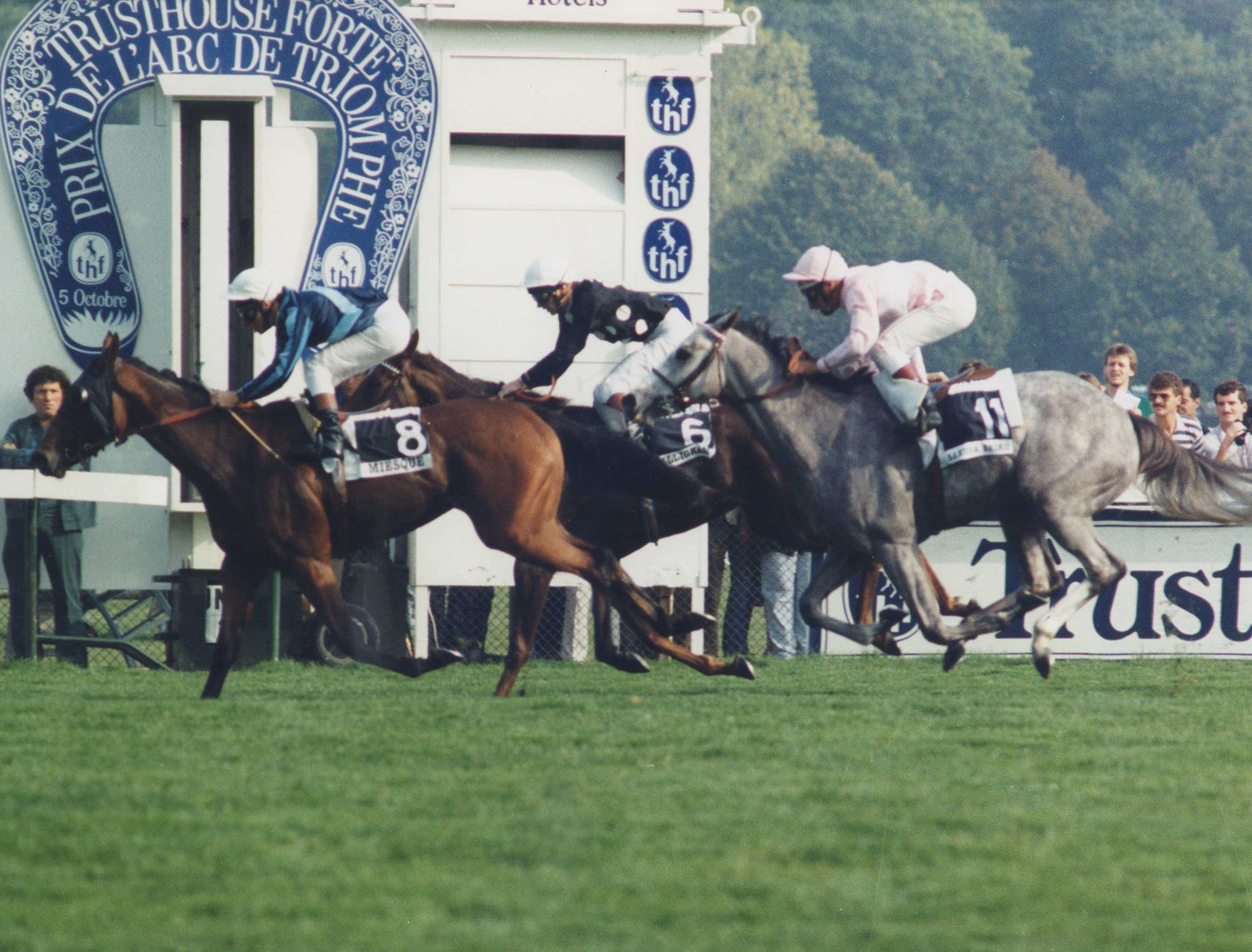 Miesque (Freddy Head up) winning the 1986 Prix Marcel Boussac at Longchamp (APRH Bertrand/Museum Collection)