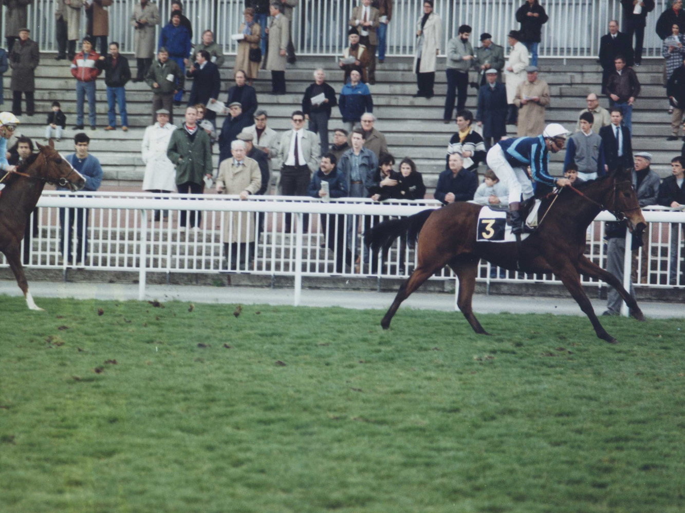 Miesque (Freddy Head up) winning the 1987 Prix Imprudence at Maisons-Laffitte Racecourse (APRH Bertrand/Museum Collection)