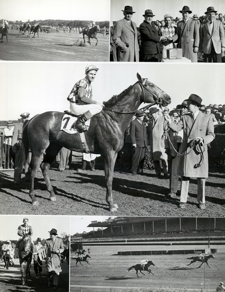 Win composite photograph for the 1952 Futurity at Belmont Park, won by Native Dancer with Eric Guerin up (Bert Morgan/Museum Collection)