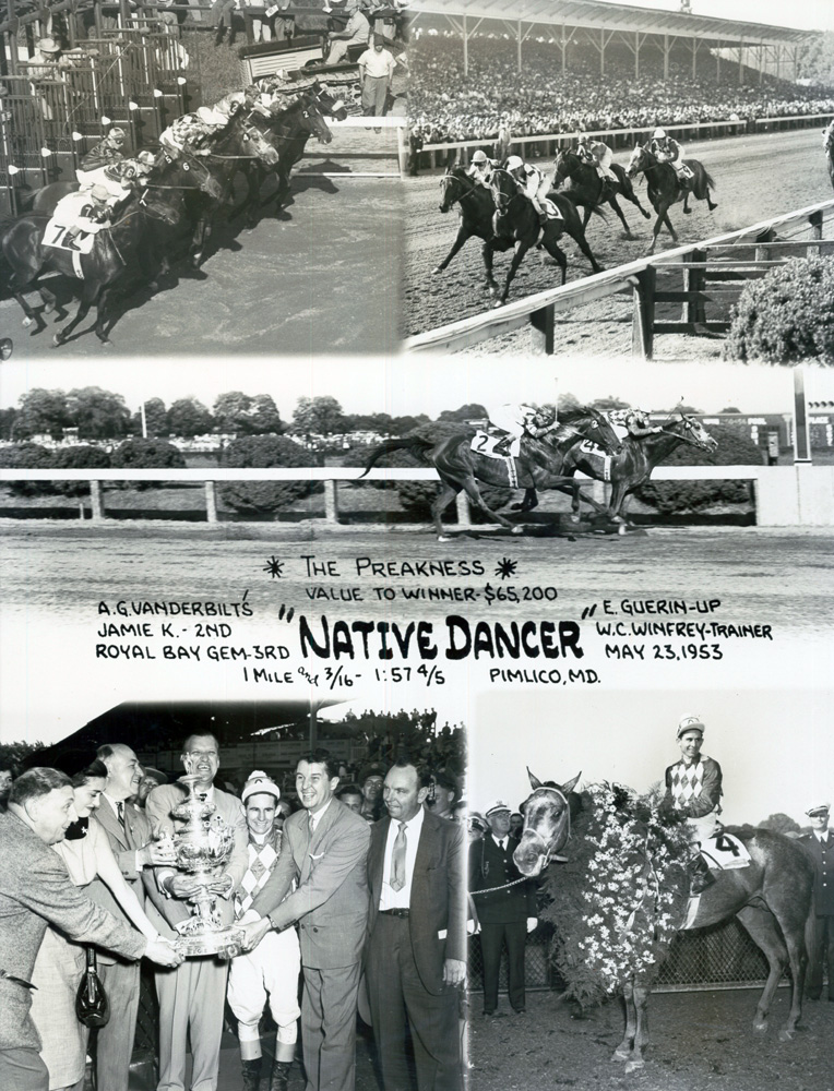 Win composite photograph for the 1953 Preakness, won by Native Dancer with Eric Guerin up (Museum Collection)