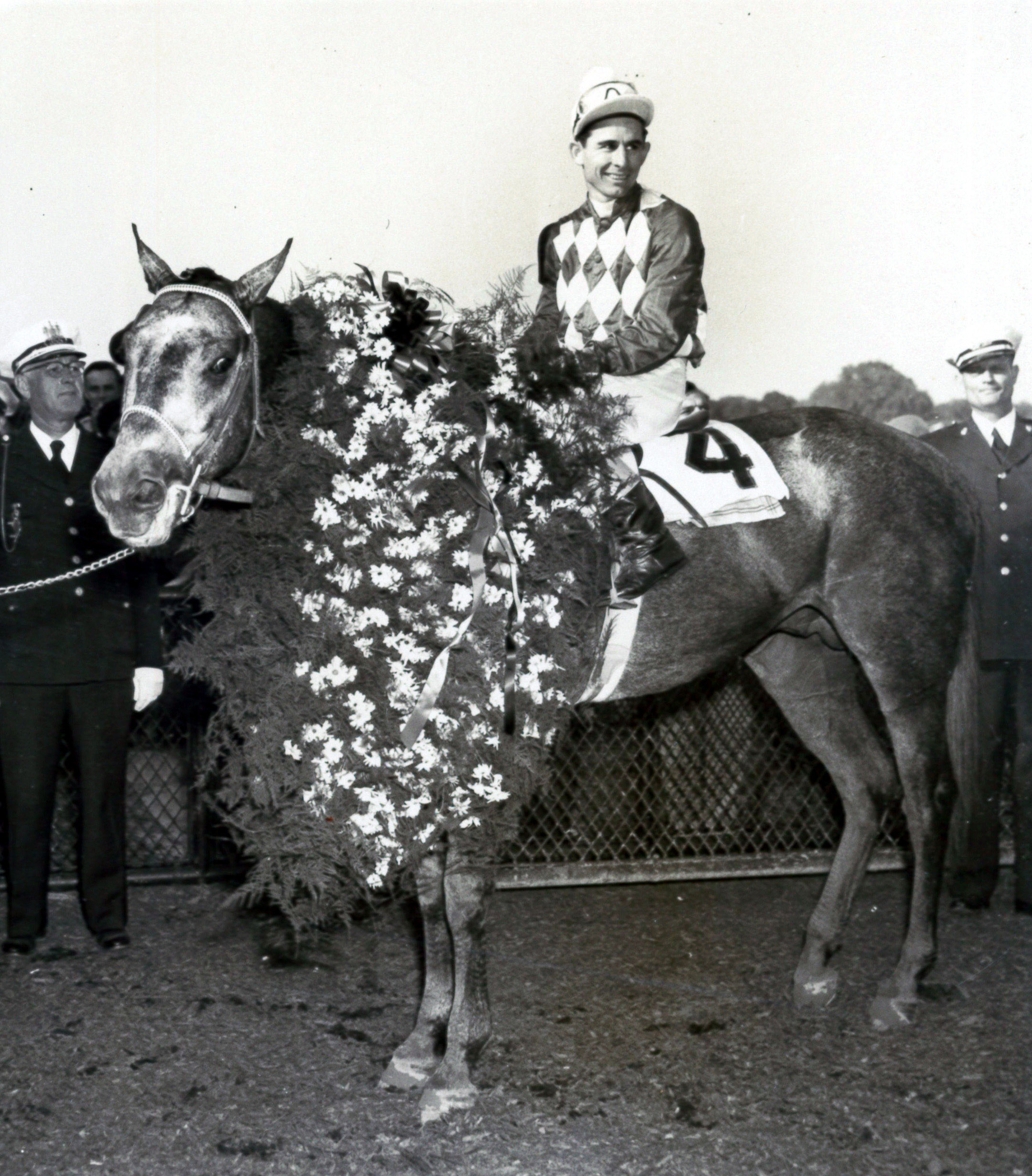 Native Dancer (Eric Guerin up) in the winner's circle for the 1953 Preakness Stakes (Museum Collection)