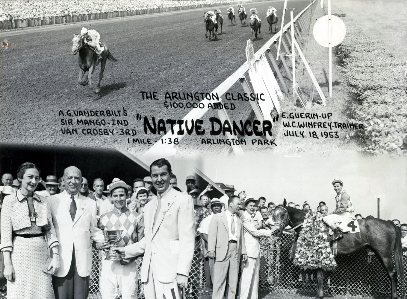 Win composite photograph for the 1953 Arlington Classic, won by Native Dancer with Eric Guerin up (Museum Collection)