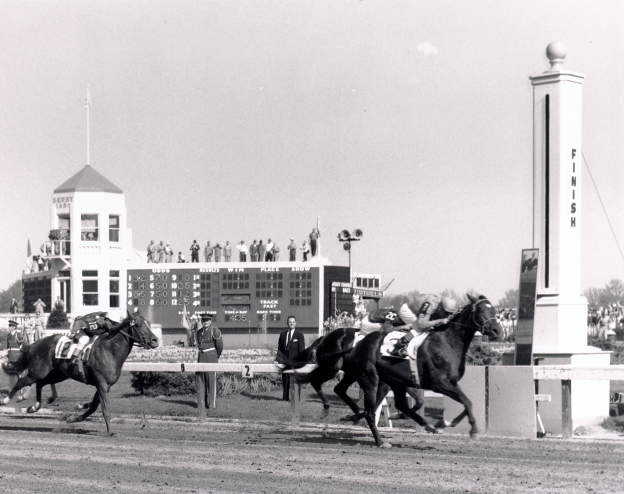 Needles (Dave Erb up) winning the 1956 Kentucky Derby (Churchill Downs Inc./Kinetic Corp. /Museum Collection)