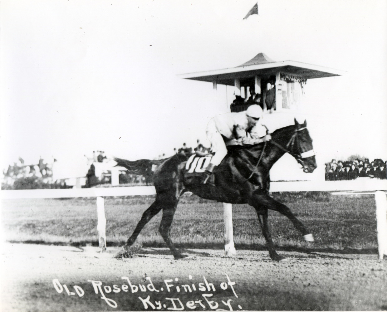 Old Rosebud (John McCabe up) winning the 1914 Kentucky Derby (Museum Collection)