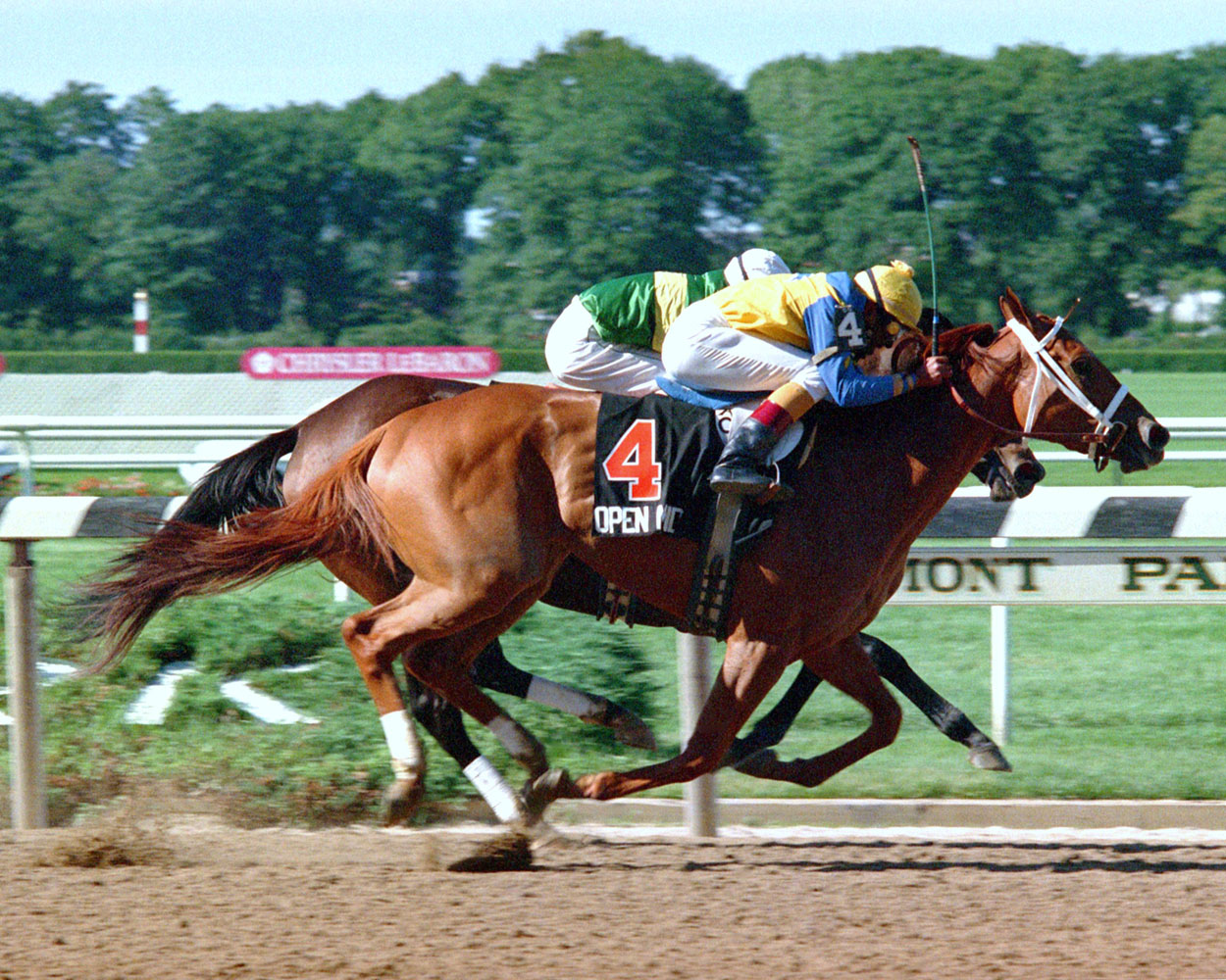 Open Mind (Angel Cordero up) winning the 1989 Mother Goose at Belmont by a head (NYRA)