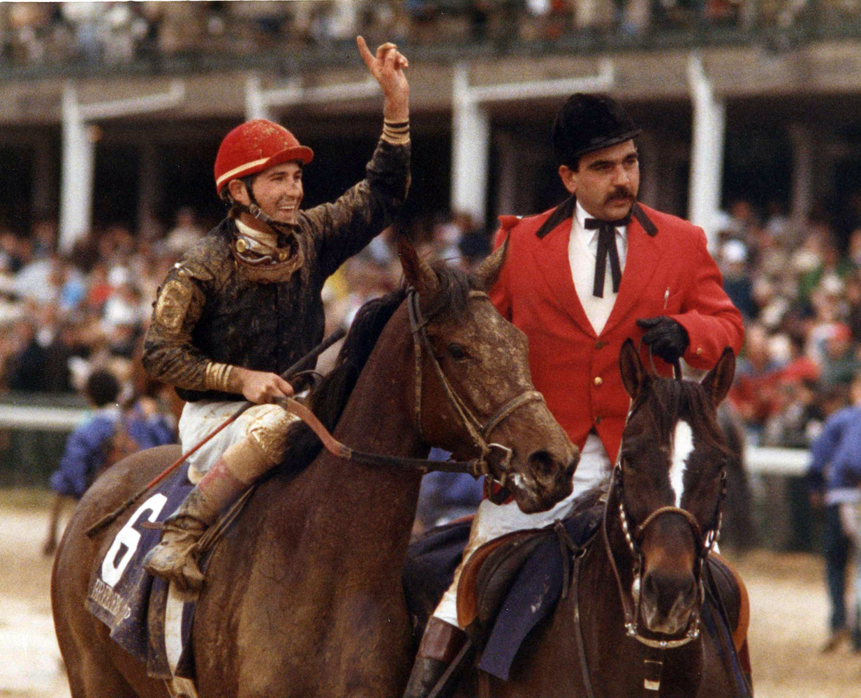 Personal Ensign (Randy Romero up) after winning the 1988 Breeders' Cup Distaff, her final career race (Museum Collection)