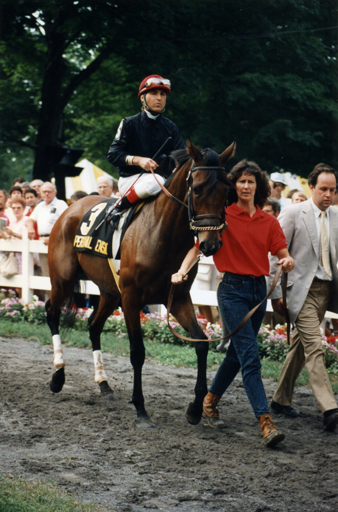 Personal Ensign (Randy Romero up) in the post parade for the 1988 Whitney at Saratoga (Barbara D. Livingston/Museum Collection)