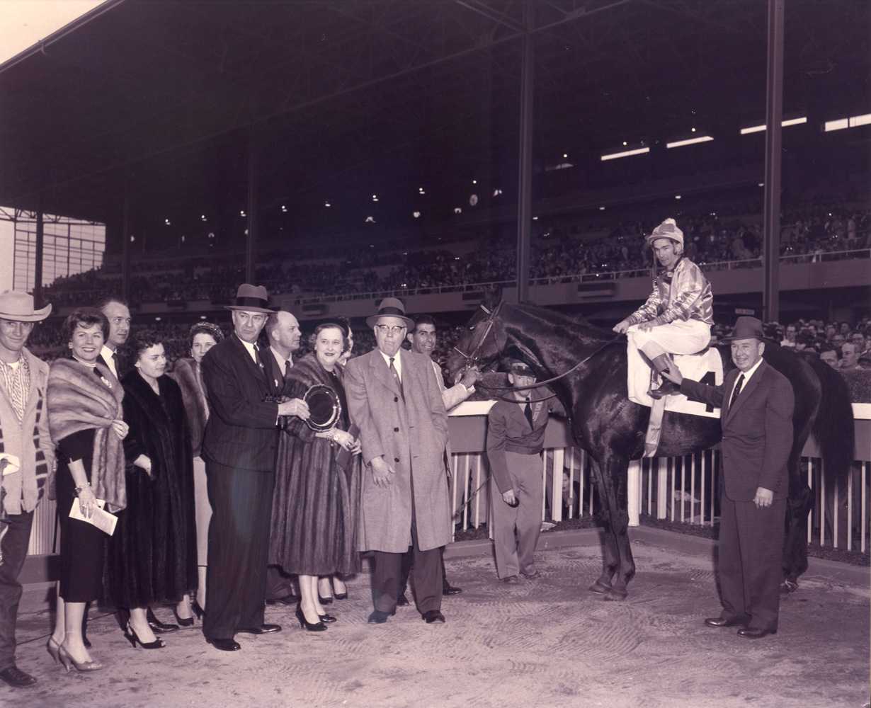 Round Table (Bill Shoemaker up) in the winner's circle for the 1958 San Fernando Stakes at Santa Anita Park (Santa Anita Photo/Museum Collection)