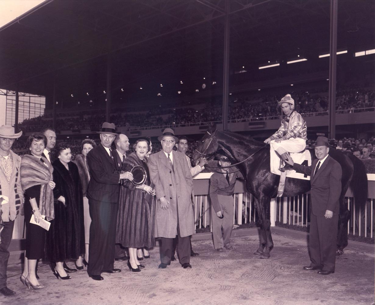 Round Table (Bill Shoemaker up) in the winner's circle for the 1958 San Fernando Stakes at Santa Anita Park (Santa Anita Photo/Museum Collection)