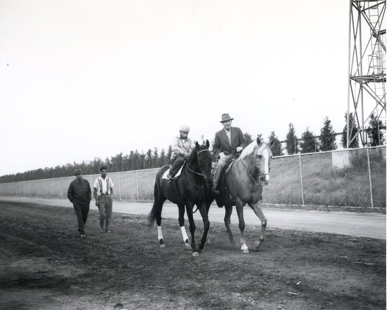 Round Table and trainer William Molter about to hit the track at Aqueduct, 1959 (Keeneland Library Morgan Collection/Museum Collection)