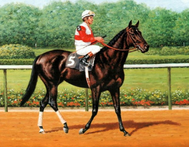 Painting of Ruffian with Jacinto Vasquez up by Richard Stone Reeves