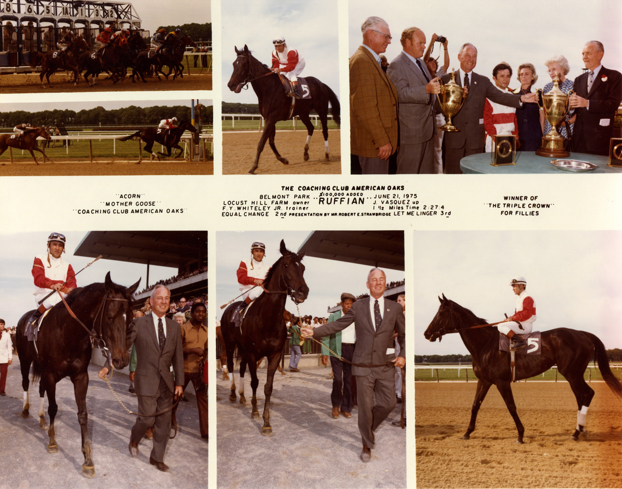 Win composite photograph for the 1975 Coaching Club American Oaks, won by Ruffian with Jacinto Vasquez up (NYRA/Museum Collection)