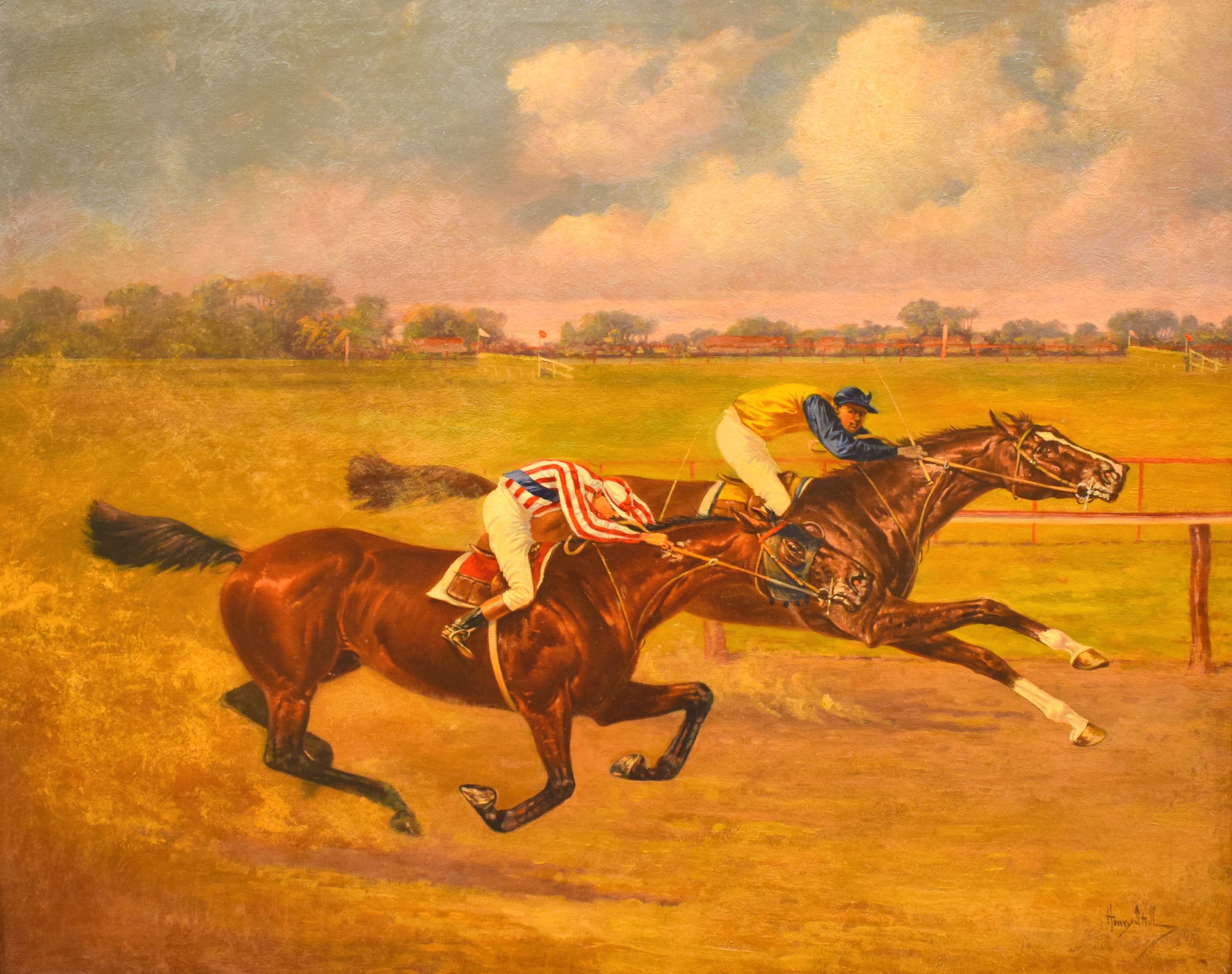 """Salvator, on inside, vs. Tenny in """"The Great $10,000 Match Race"""" painting by Henry Stull, 1890 (Museum Collection)"""