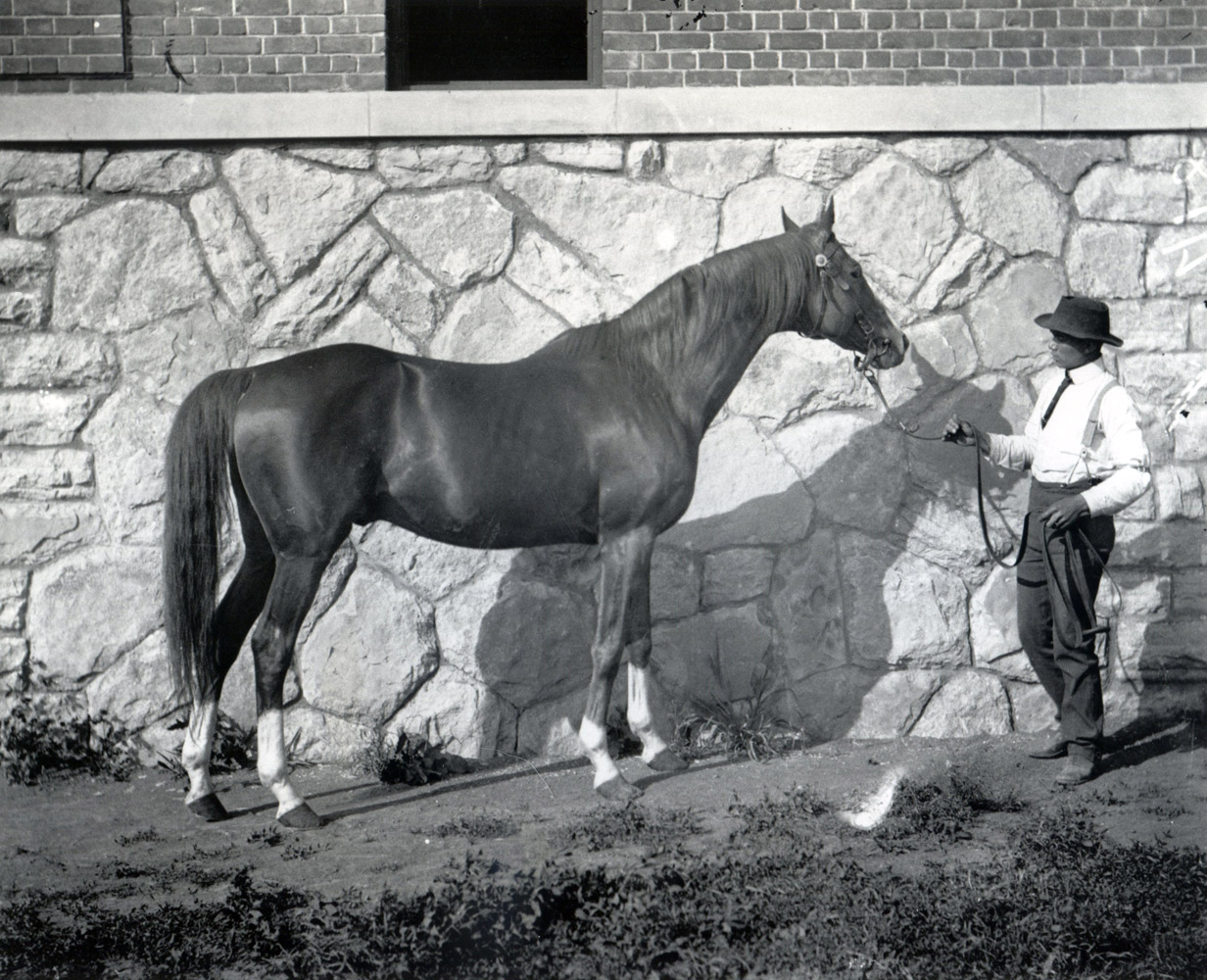 Salvator and an unidentified handler (Keeneland Library McClure Collection/Museum Collection)