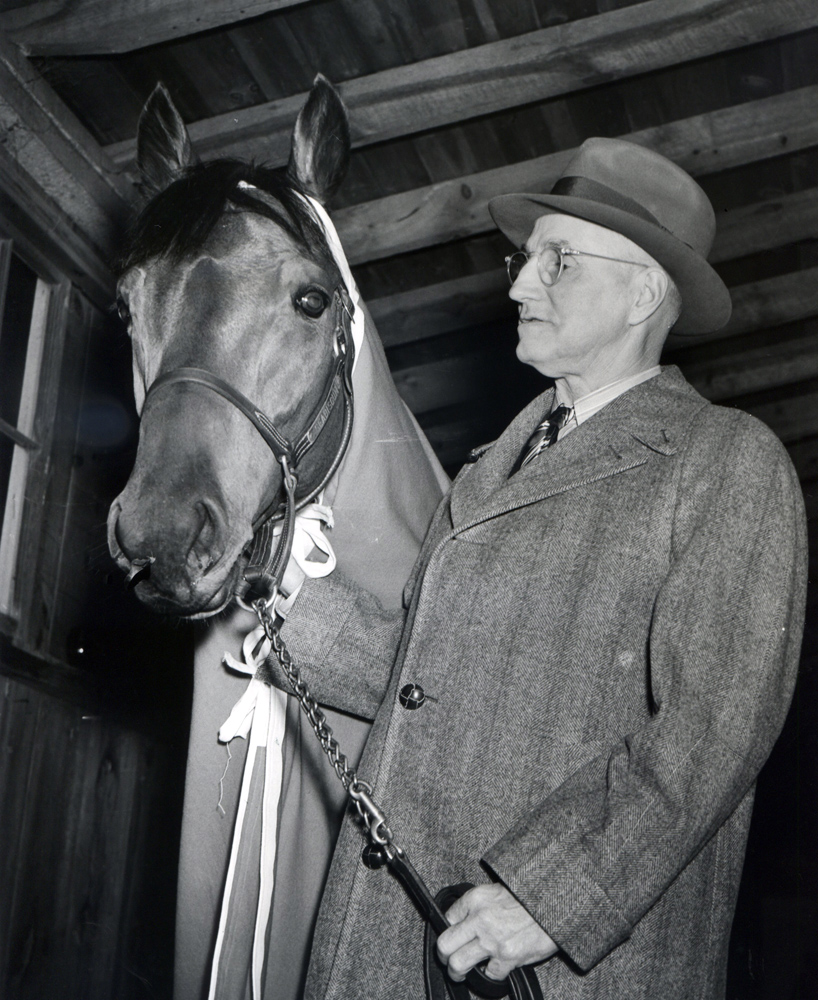 Seabiscuit with Tom Smith at Pimlico, 1938 (Keeneland Library Morgan Collection/Museum Collection)