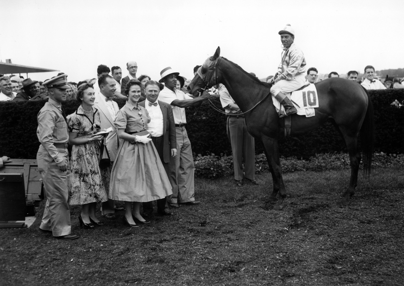 Searching (Conn McCreary up) in the winner's circle for the 1955 Vagrancy Handicap (Keeneland Library Morgan Collection/Museum Collection)