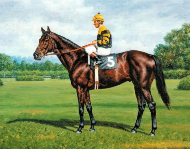 Painting of Seattle Slew with Jean Cruguet up by Richard Stone Reeves