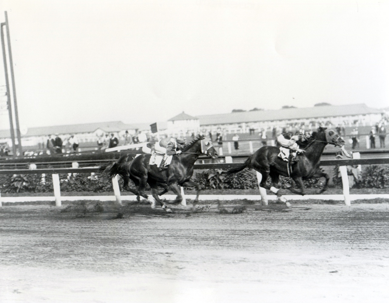 Sun Beau (Frank Coltiletti up) winning the 1929 Aqueduct Handicap at Aqueduct (Keeneland Library Cook Collection/Museum Collection)