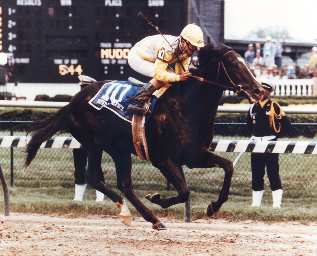 Sunday Silence (Patrick Valenzuela up) winning the 1989 Kentucky Derby (Churchill Downs Inc./Kinetic Corp. /Museum Collection)
