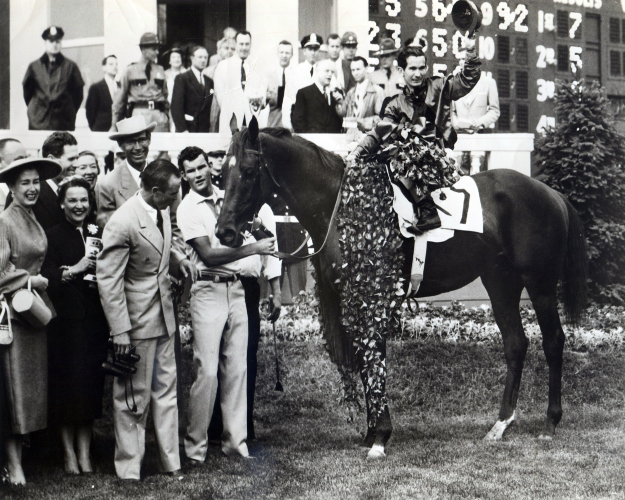 Swaps (Bill Shoemaker up) in the winner's circle for the 1955 Kentucky Derby (Museum Collection)