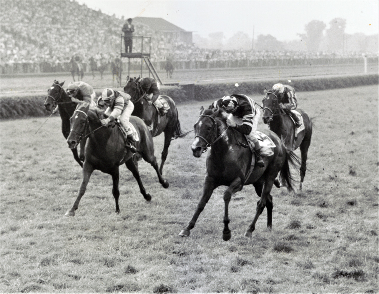 Swoon's Son with Eddie Arcaro up (on the right) winning the 1956 American Derby at Washington Park (Keeneland Library Thoroughbred Times Collection)