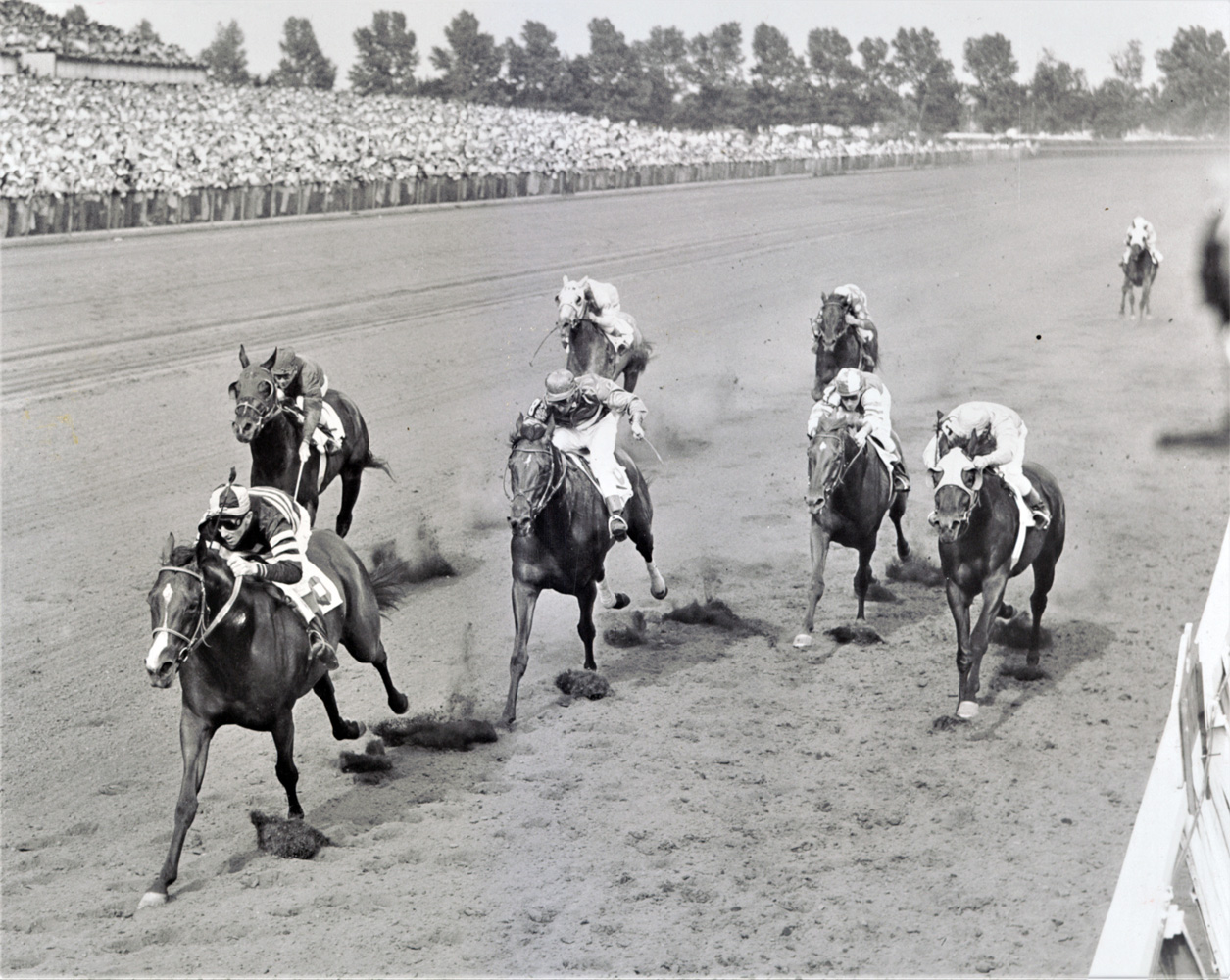 Swoon's Son (Dave Erb up) winning the 1956 Arlington Classic (Keeneland Library Thoroughbred Times Collection)
