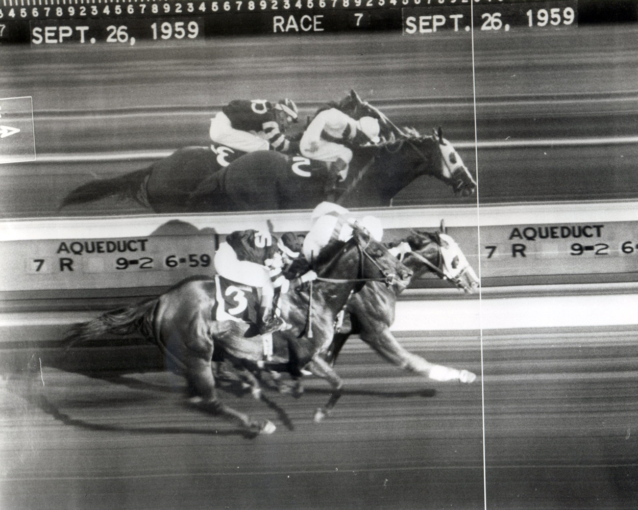 Photo finish for the 1959 Woodward, won by Sword Dancer over Hillsdale (Keeneland Library Morgan Collection/Museum Collection)