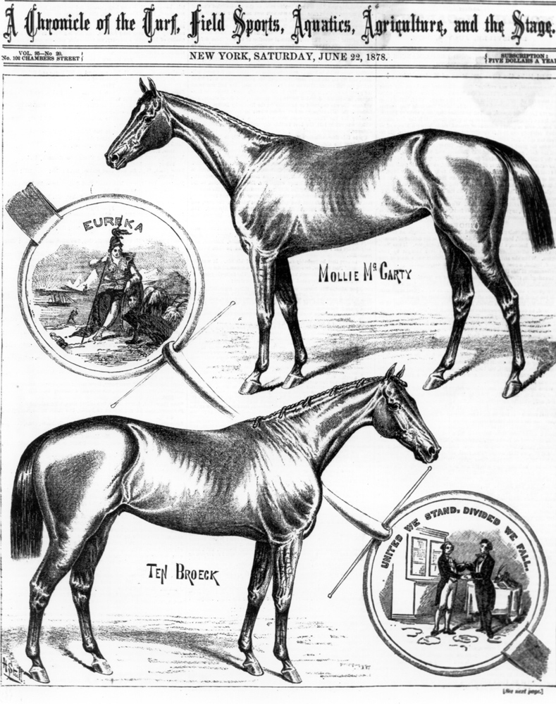 """Illustration of Ten Broeck (and Mollie McCarty) from """"The Spirit of the Times,"""" June 1878 (Keeneland Library Collection/Museum Collection)"""