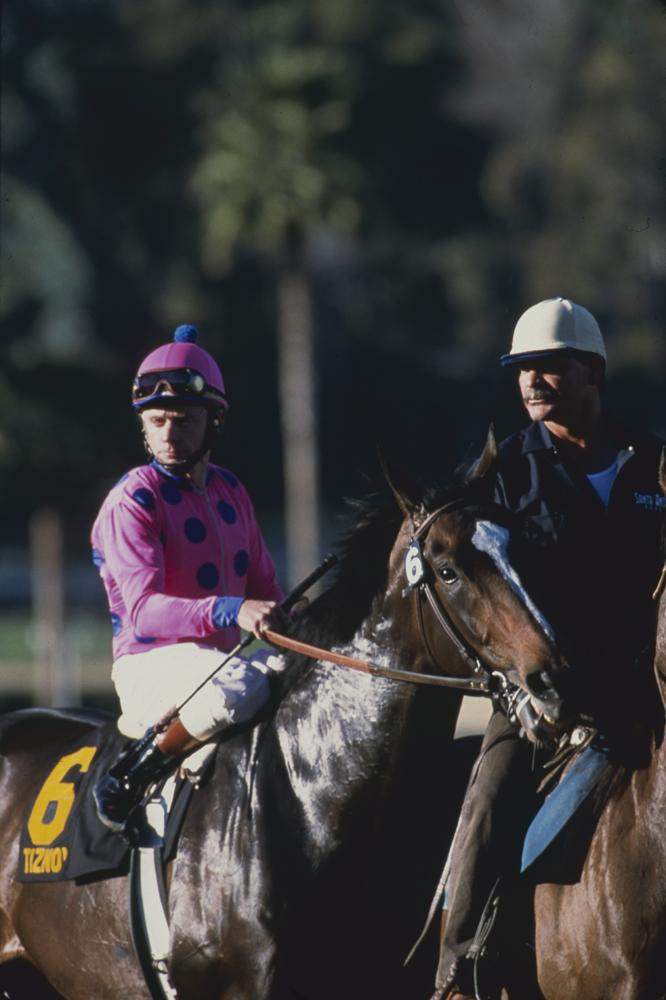 Tiznow (Chris McCarron up) heading to the start for the 2001 Strub Stakes at Santa Anita (Keeneland Library Katey Barrett Collection)