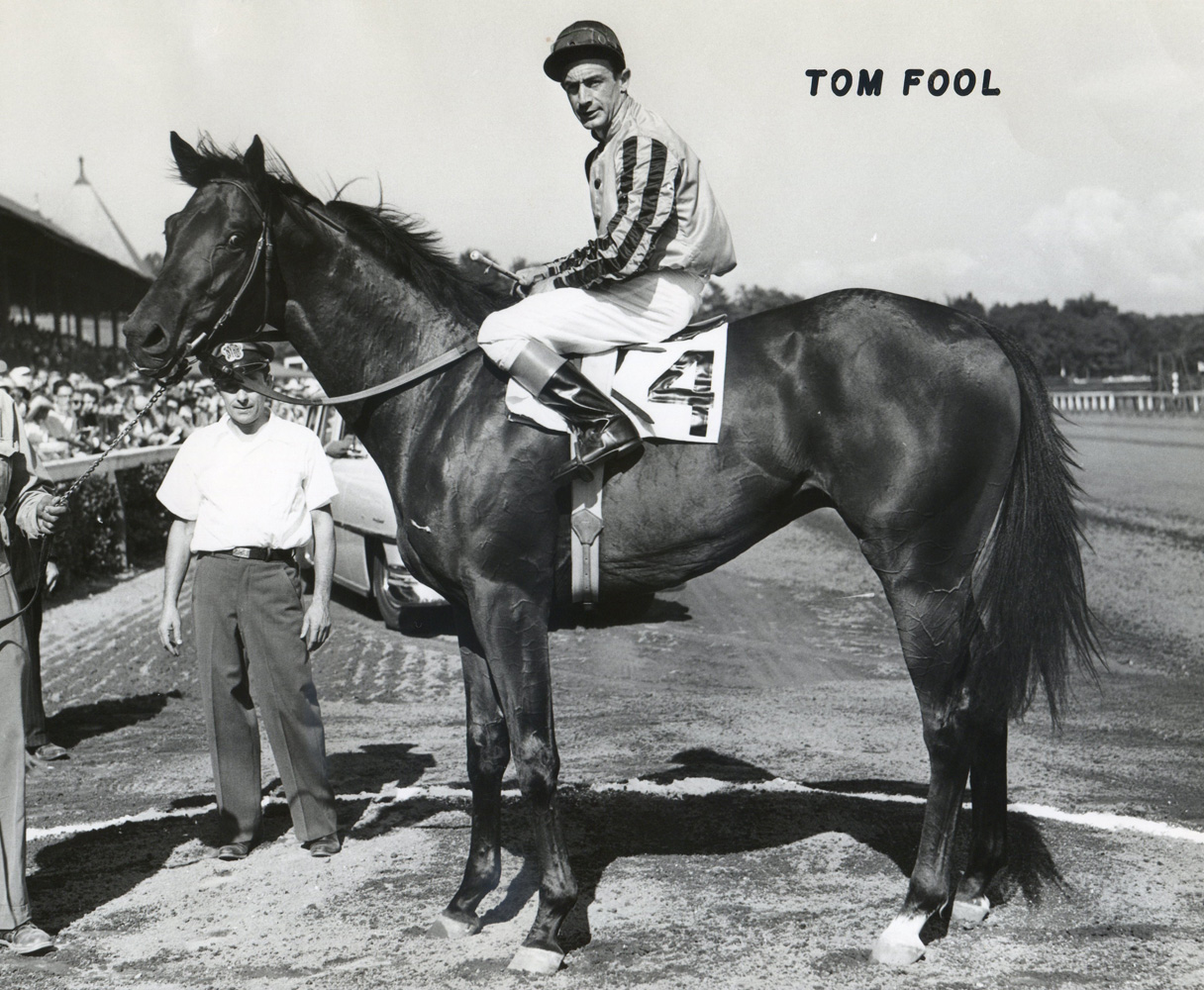 Tom Fool (Ted Atkinson up) in the winner's circle for the 1951 Grand Union Hotel Stakes at Saratoga (Museum Collection)