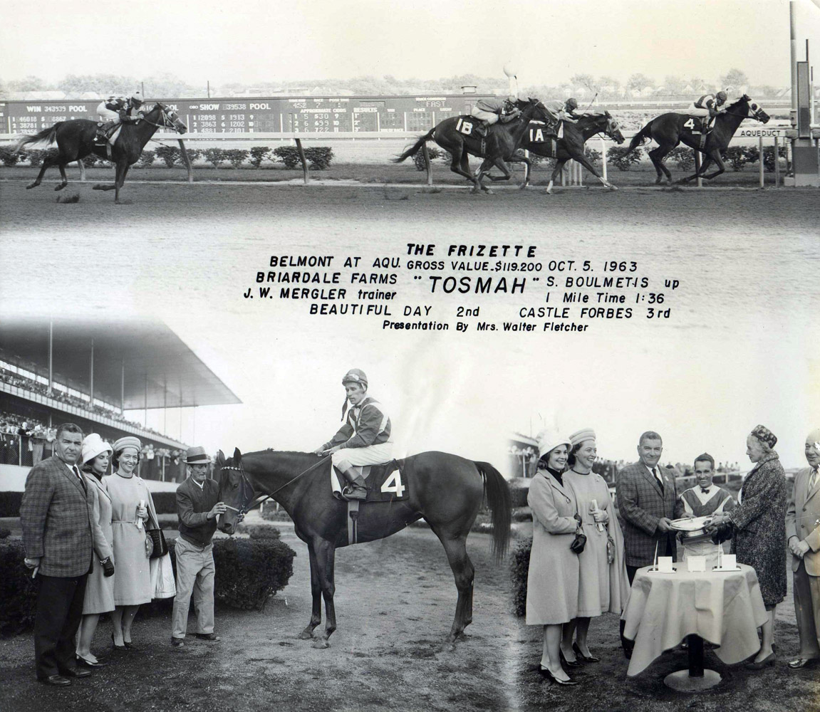 Win composite photograph for the 1963 Frizette, won by Tosmah with Sam Boulmetis up (NYRA/Museum Collection)