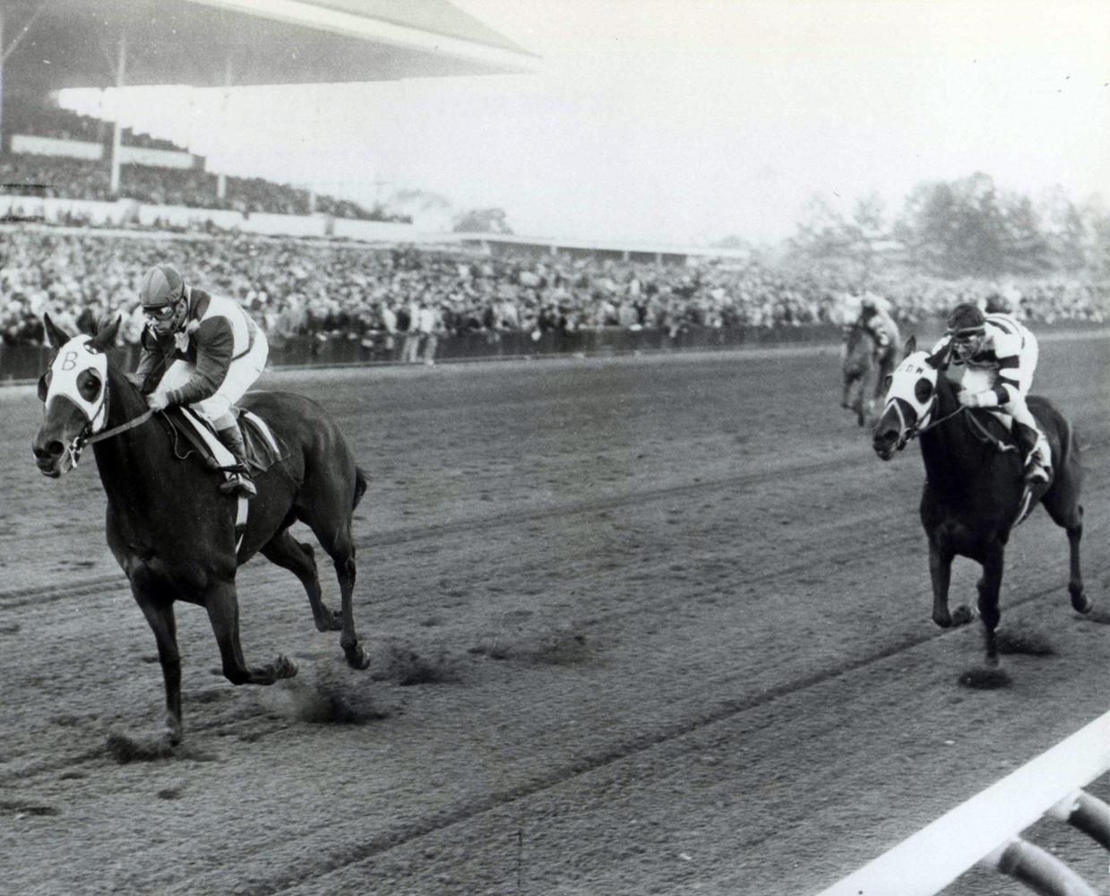 Tosmah (Sam Boulmetis up) winning the 1964 Jersey Belle at Garden State Park (Jim Raftery Turfotos/Museum Collection)