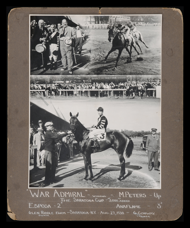 War Admiral win composite photograph, 1938 Saratoga Cup (Turf Pix)
