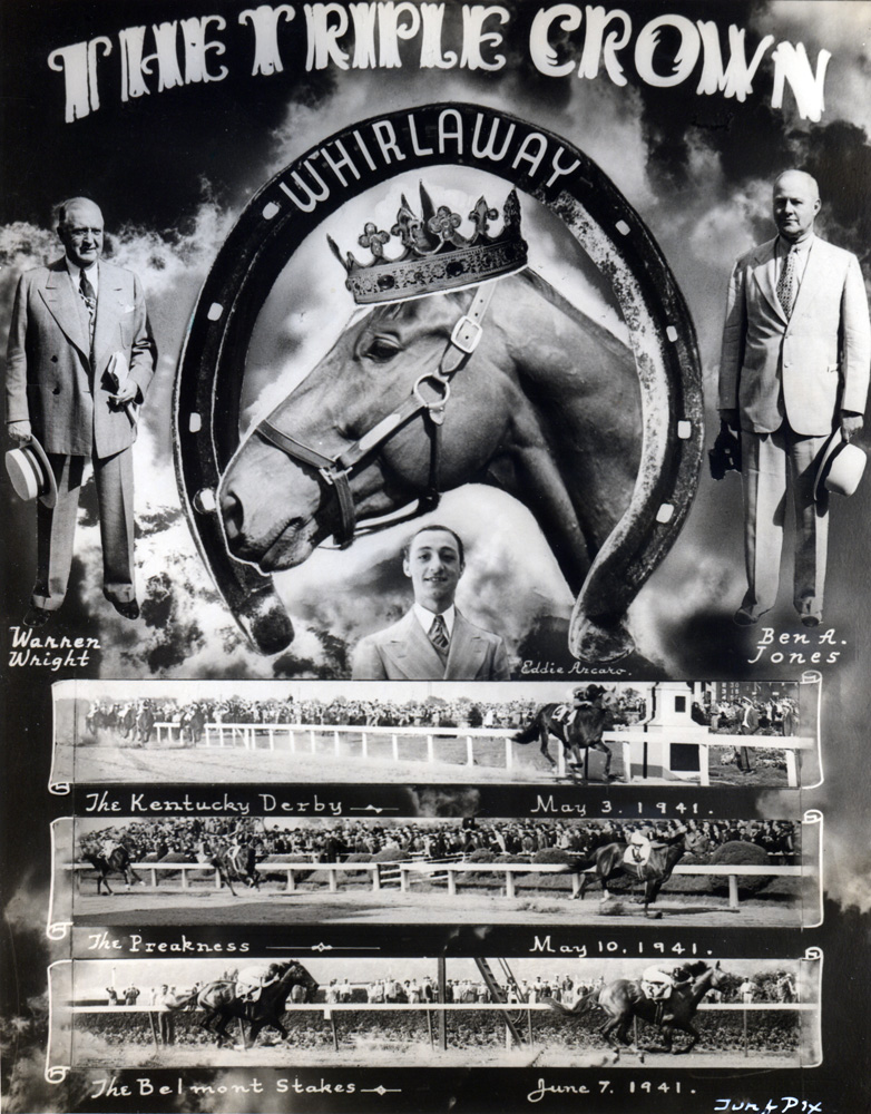 Photo collage celebrating Whirlaway's Triple Crown triumph in 1941 (TurfPix/Museum Collection)