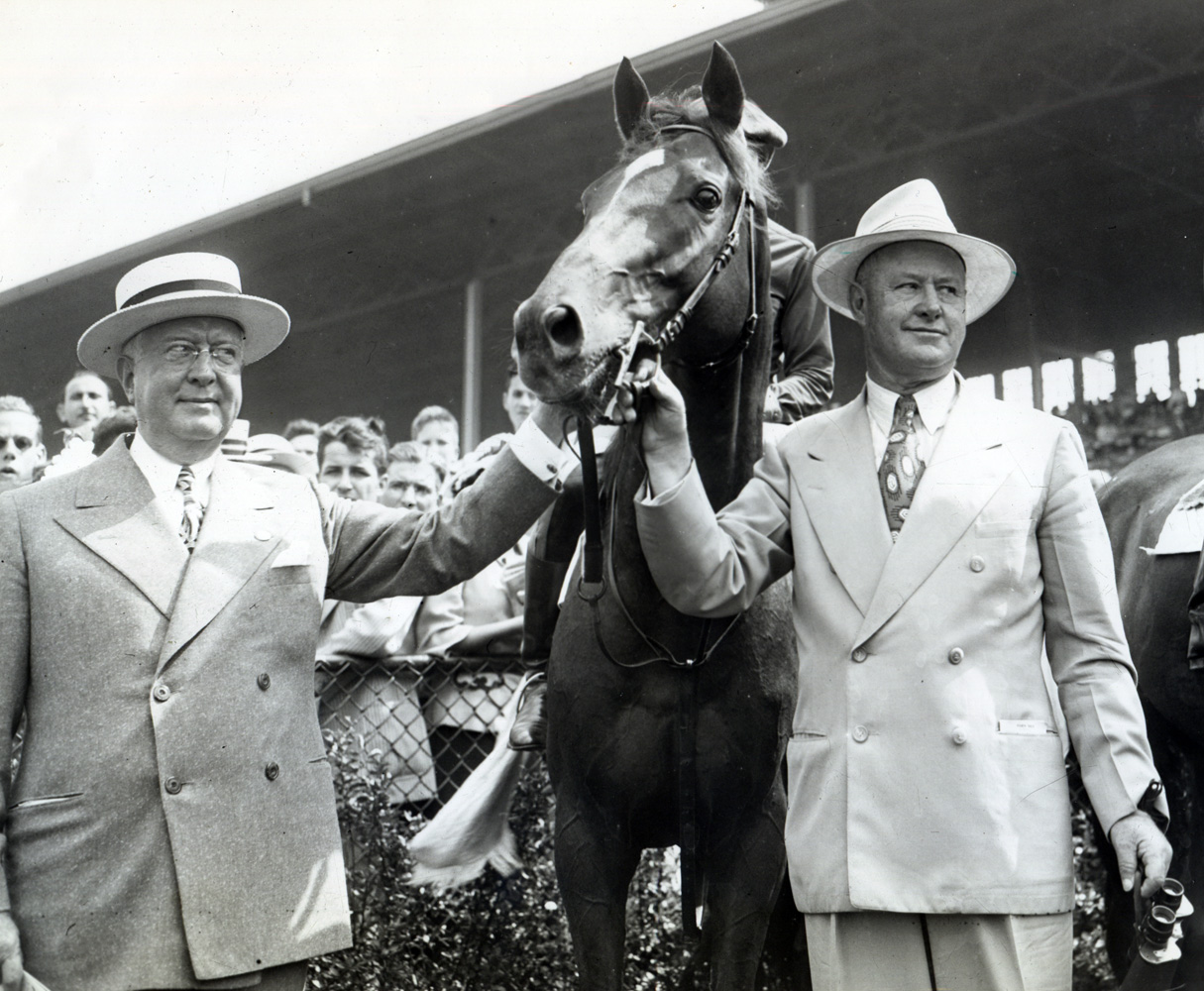 Whirlaway's final public appearance with owner Warren Wright and trainer Ben Jones at Washington Park, July 1943 (Washington Park Photo/Museum Collection)