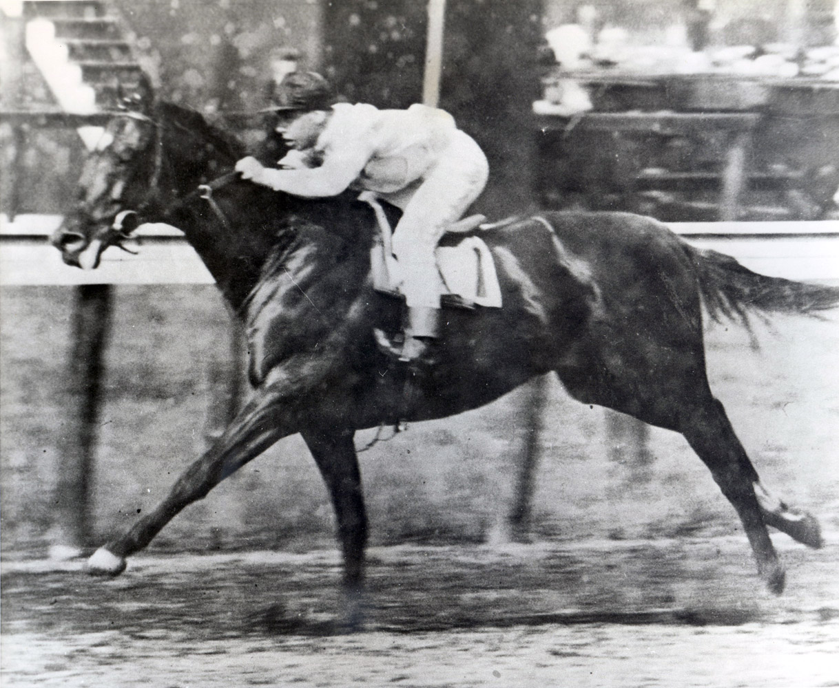 Whisk Broom II (Joe Notter up) racing in the 1913 Brooklyn Handicap at Belmont, his second race and second win in America (Museum Collection)