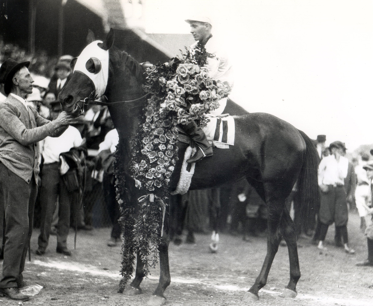 Zev (Earl Sande up) in the winner's circle for the 1923 Kentucky Derby (Churchill Downs Inc./Kinetic Corp. /Museum Collection)