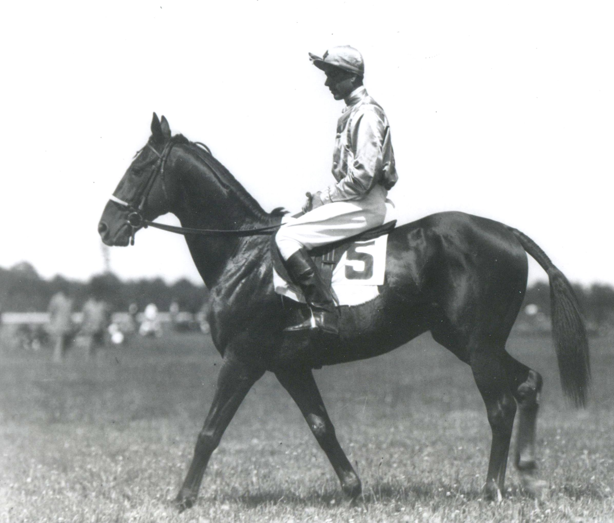 Battleship, son of Man o' War, with rider Carroll K. Bassett up (Keeneland Library Morgan Collection/Museum Collection)