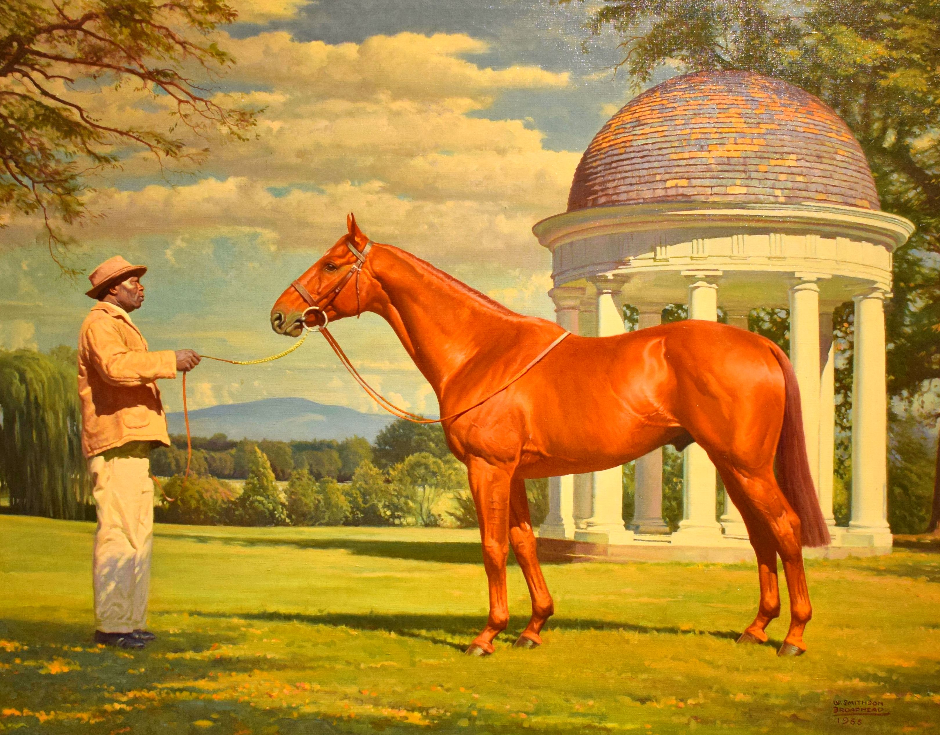 Painting of Battleship with stallion manager Edward Washington by W. Smithson Broadhead, 1955 (Museum Collection)