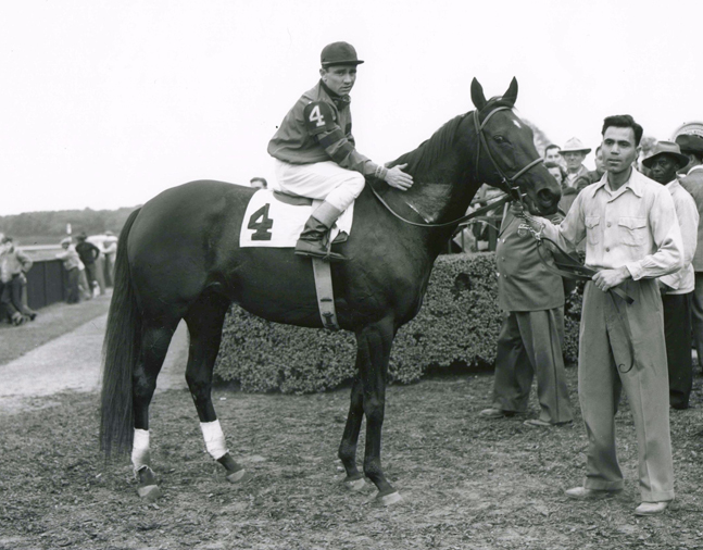 Bewitch (Steve Brooks up) in the winner's circle for the 1950 War Date Handicap at Belmont Park (Keeneland Library Morgan Collection/Museum Collection)