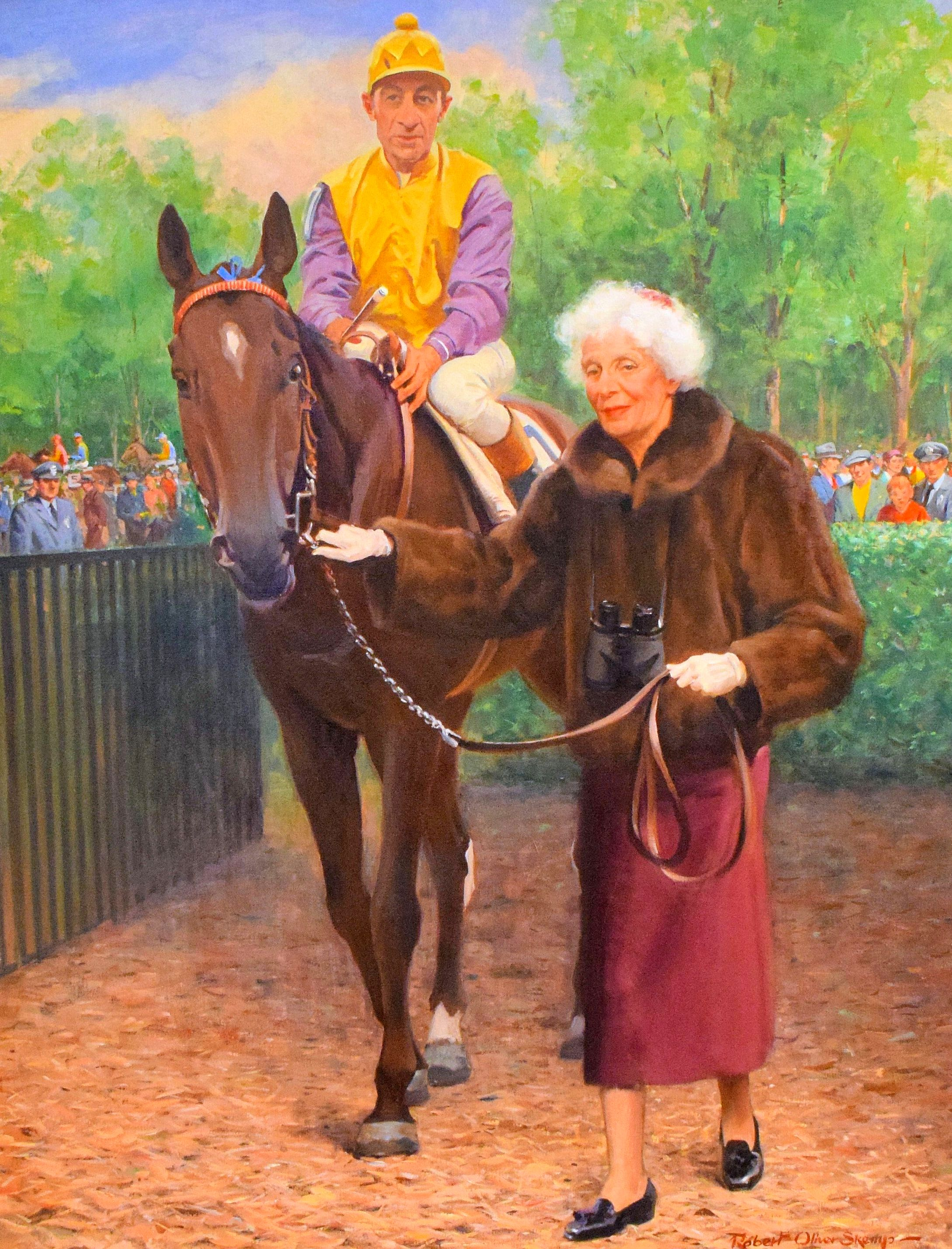 Painting of Bold Ruler (Eddie Arcaro up) and Gladys Mills Phipps by Robert Oliver Skemp (Museum Collection)