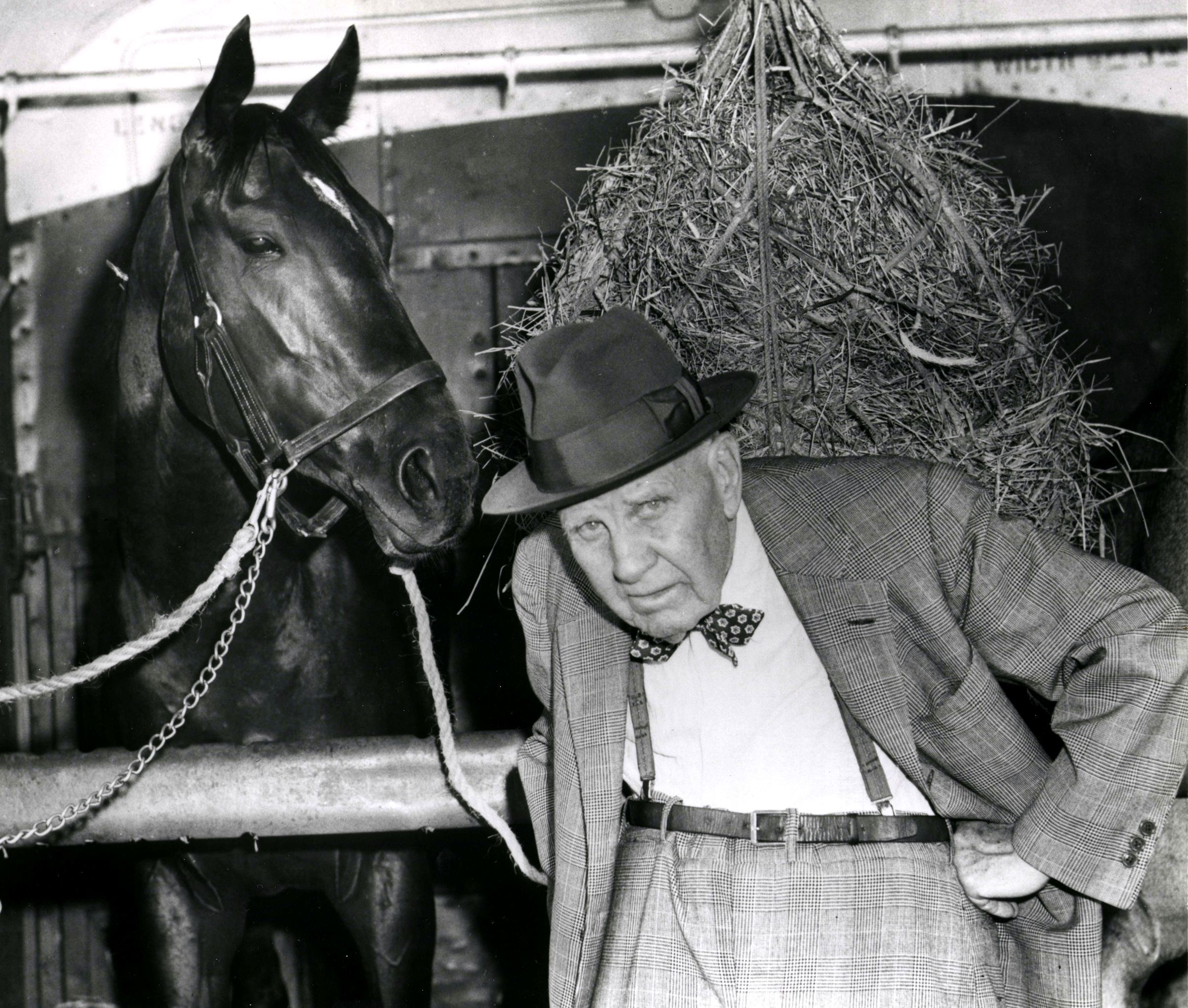 """Bold Ruler with trainer James """"Sunny Jim"""" Fitzsimmons at Belmont in 1957 (Keeneland Library Morgan Collection/Museum Collection)"""