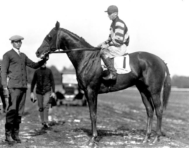 Crusader (Earl Sande up) in the winner's circle (Keeneland Library Cook Collection/Museum Collection)