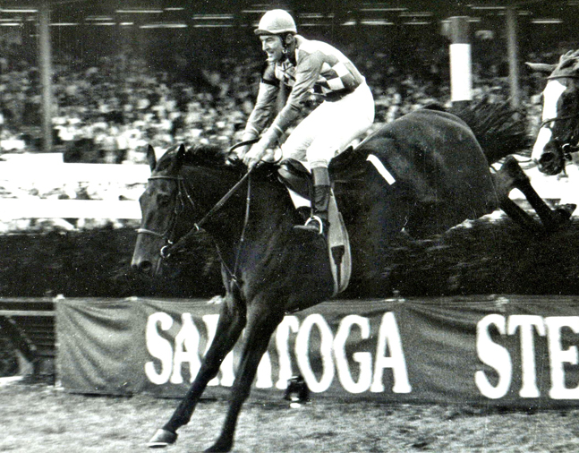 Flatterer (Jerry Fishback up) clearing a jump in his 1984 New York Turf Writers Handicap victory at Saratoga (NYRA/Museum Collection)