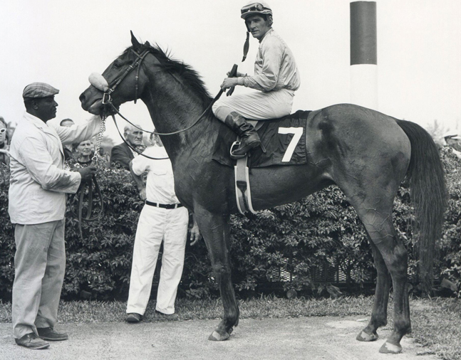 Fort Marcy (Manuel Ycaza up) in the winner's circle at Hialeah (Jim Raftery Turfotos/Museum Collection)