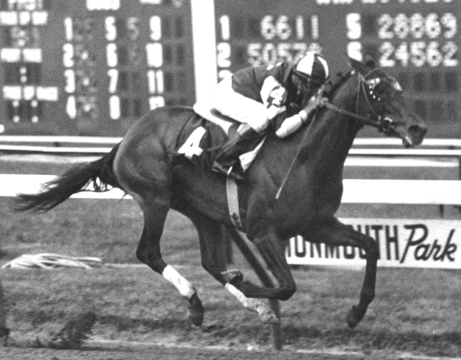 Gallant Bloom (Braulio Baeza up) winning the 1969 Monmouth Oaks (Jim Raftery Turfotos/Museum Collection)