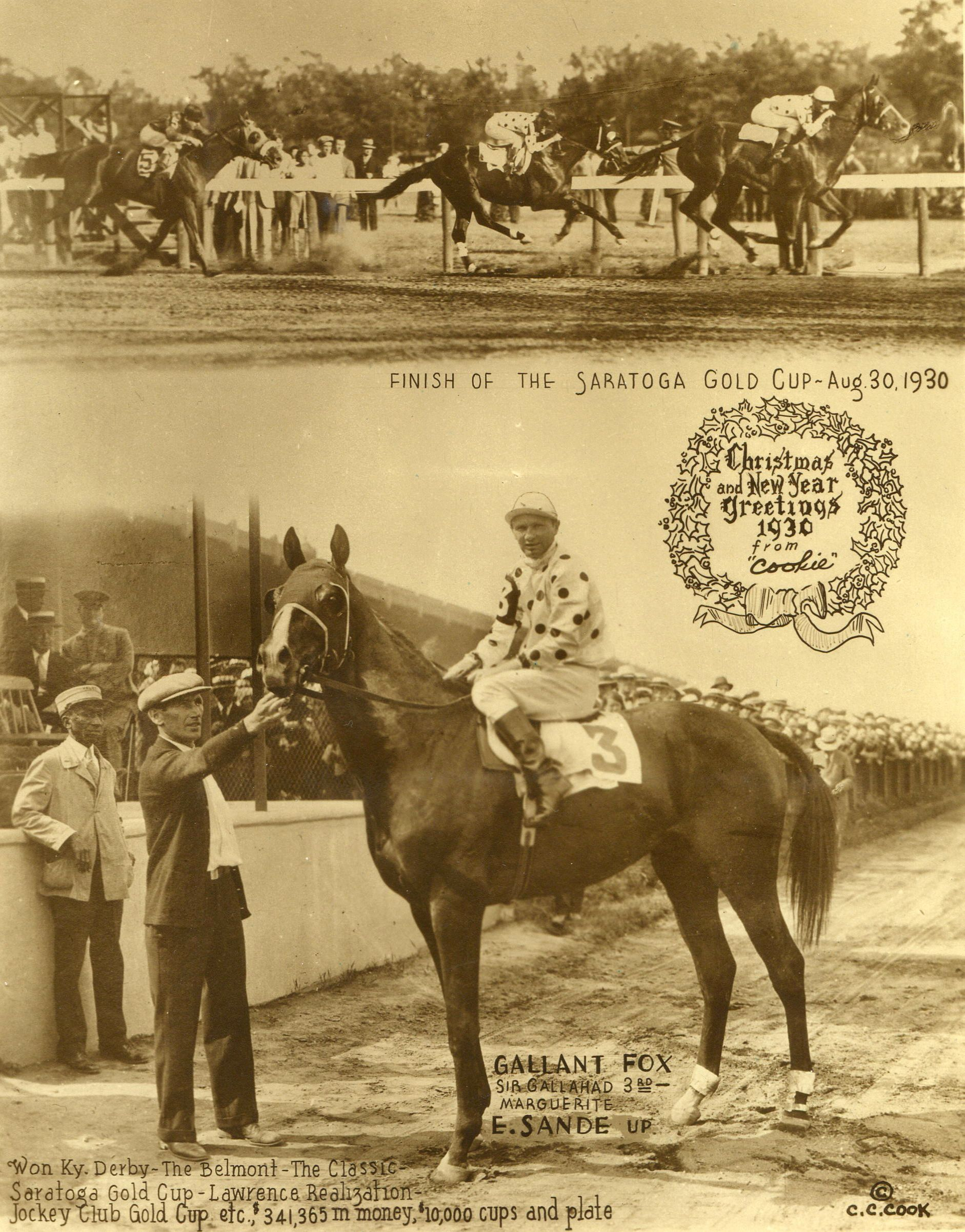 """The 1930 Saratoga Cup, won by Gallant Fox (Earl Sande up) featured in the annual """"Christmas Cookie"""" greeting card produced by photographer C. C. Cook (C.C. Cook/Museum Collection)"""