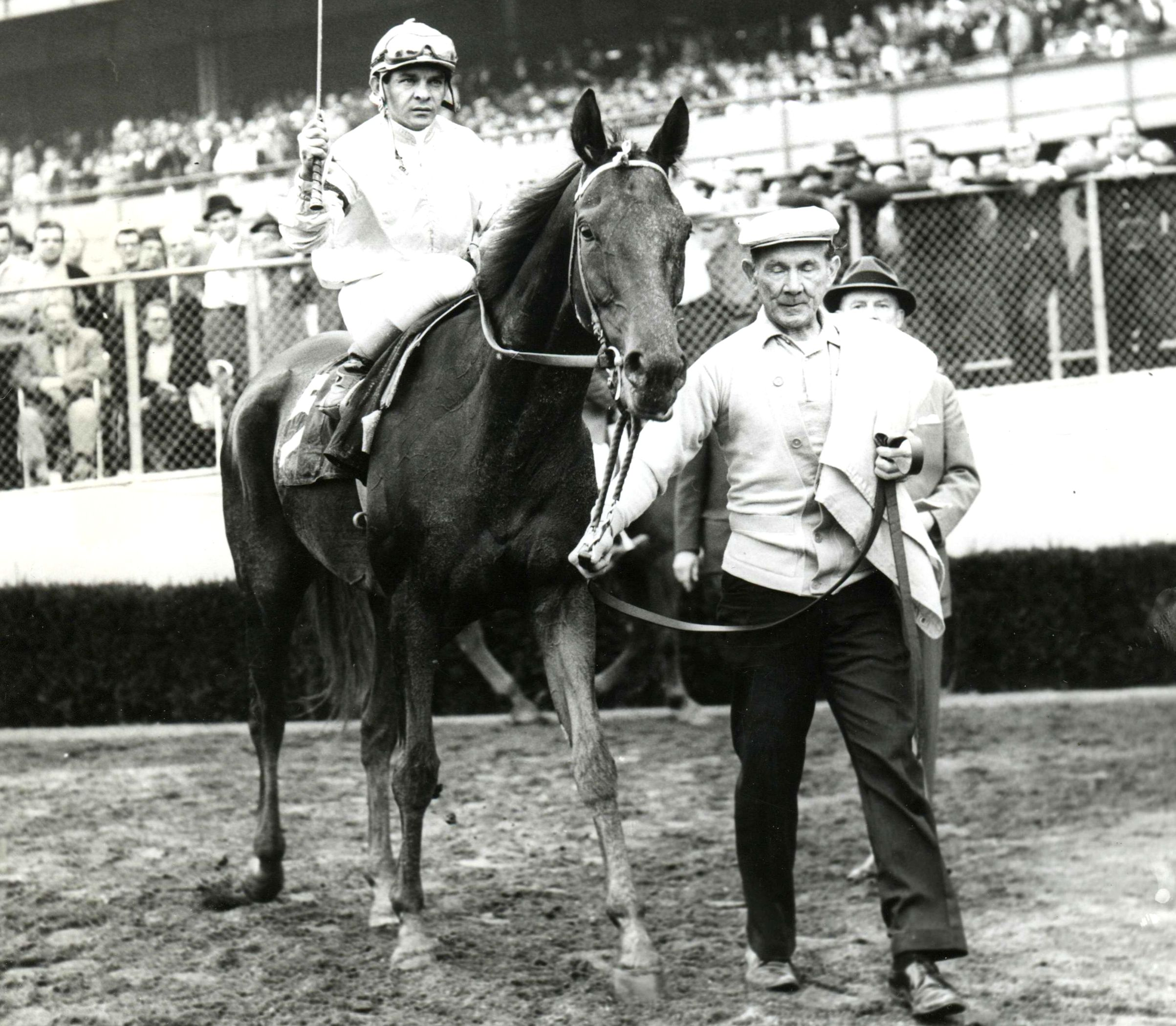 Kelso (Ismael Valenzuela up) after winning the 1962 Woodward at Aqueduct (Museum Collection)